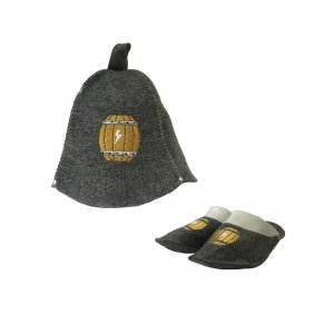 Комплект №1 шапка банная + тапочки «Домашняя Винокурня» с бочкой