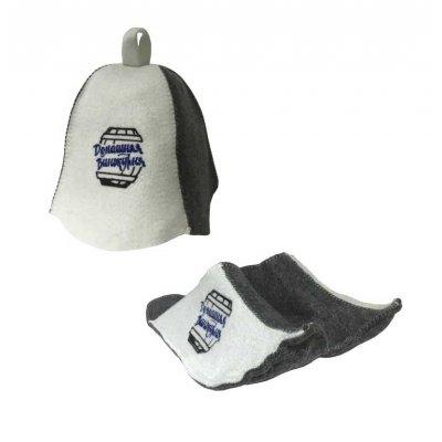 Комплект №2 шапка банная + тапочки «Домашняя Винокурня» с бочкой